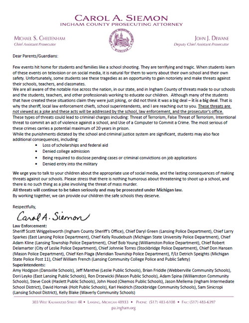 School Safety Parent Letter